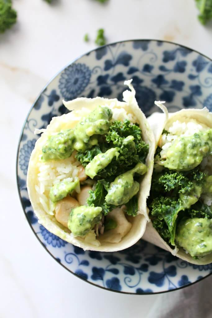 White Bean Rice Kale Wrap