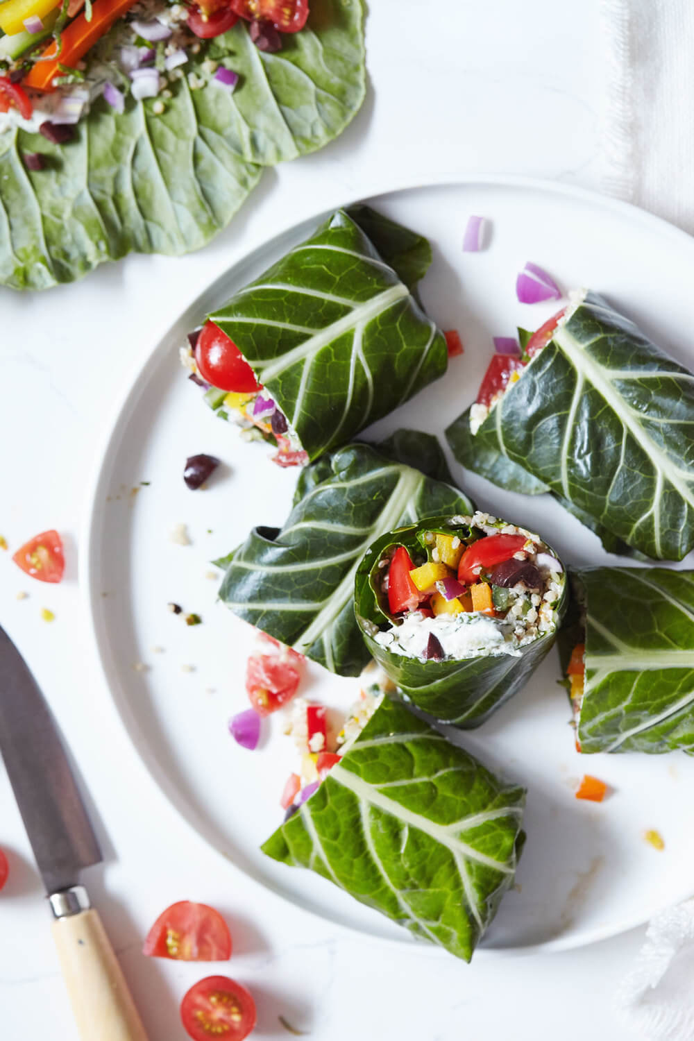 Greek Collard Green Wraps with Tzatziki