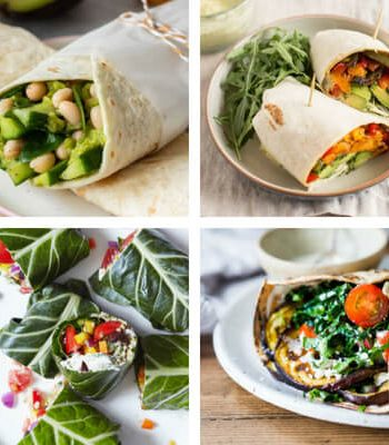 These filling Vegan Wraps are healthy, easy to make and packed with tasty, plant-based ingredients. Make them for work or school lunch and you won't get hungry 'til dinner! | The Green Loot #vegan #veganrecipes #healthyrecipes #mealprep