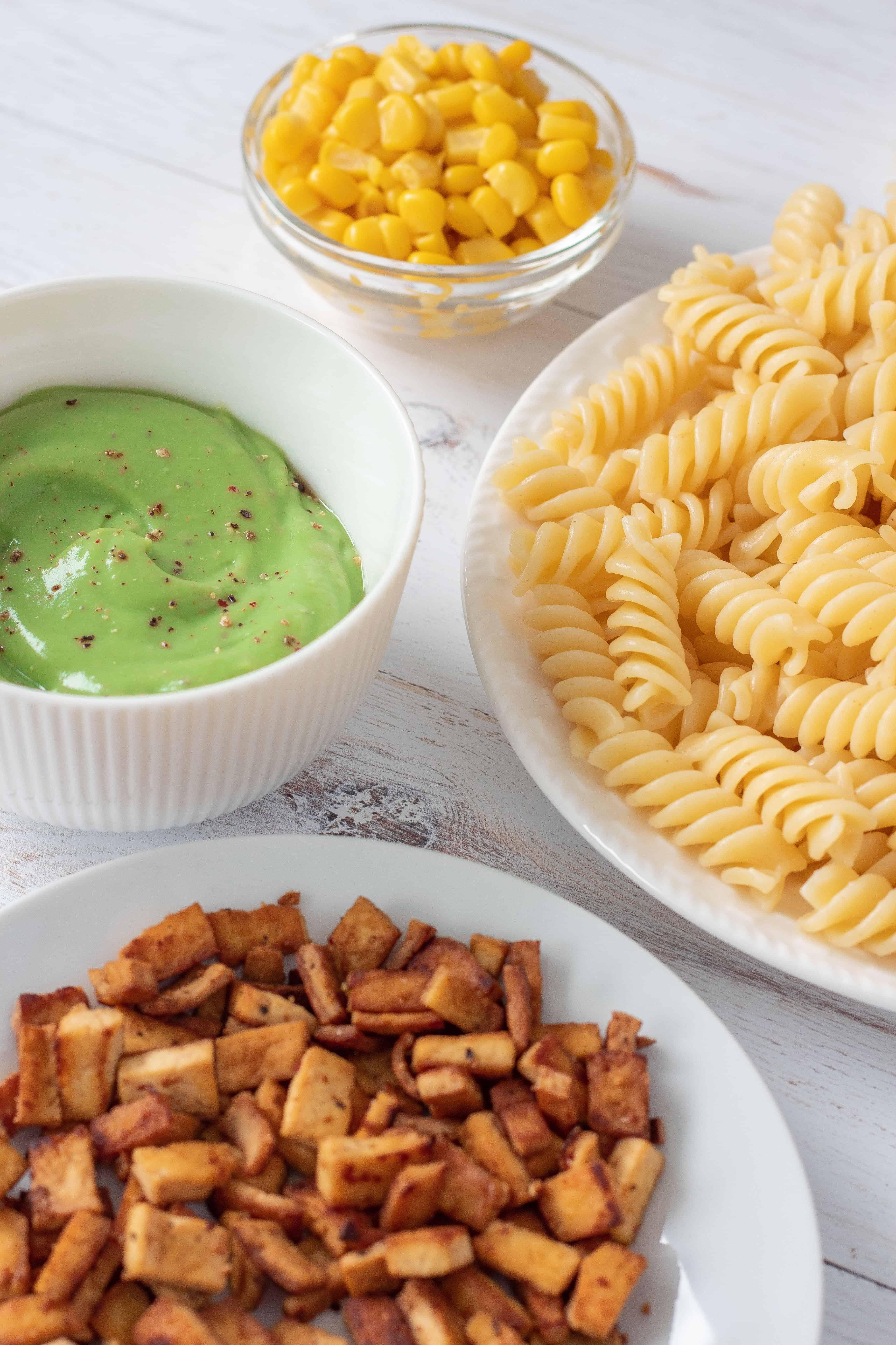 Vegan Avocado Pasta with Tofu Bacon Ingredients