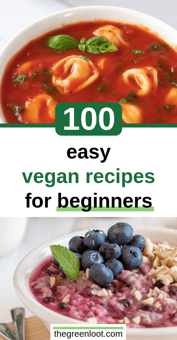 These 100 Easy Vegan Recipes for Beginners will help you make simple, but tasty meat-, dairy-, and egg-free meals even if you have no experience. | The Green Loot #vegan #veganrecipes