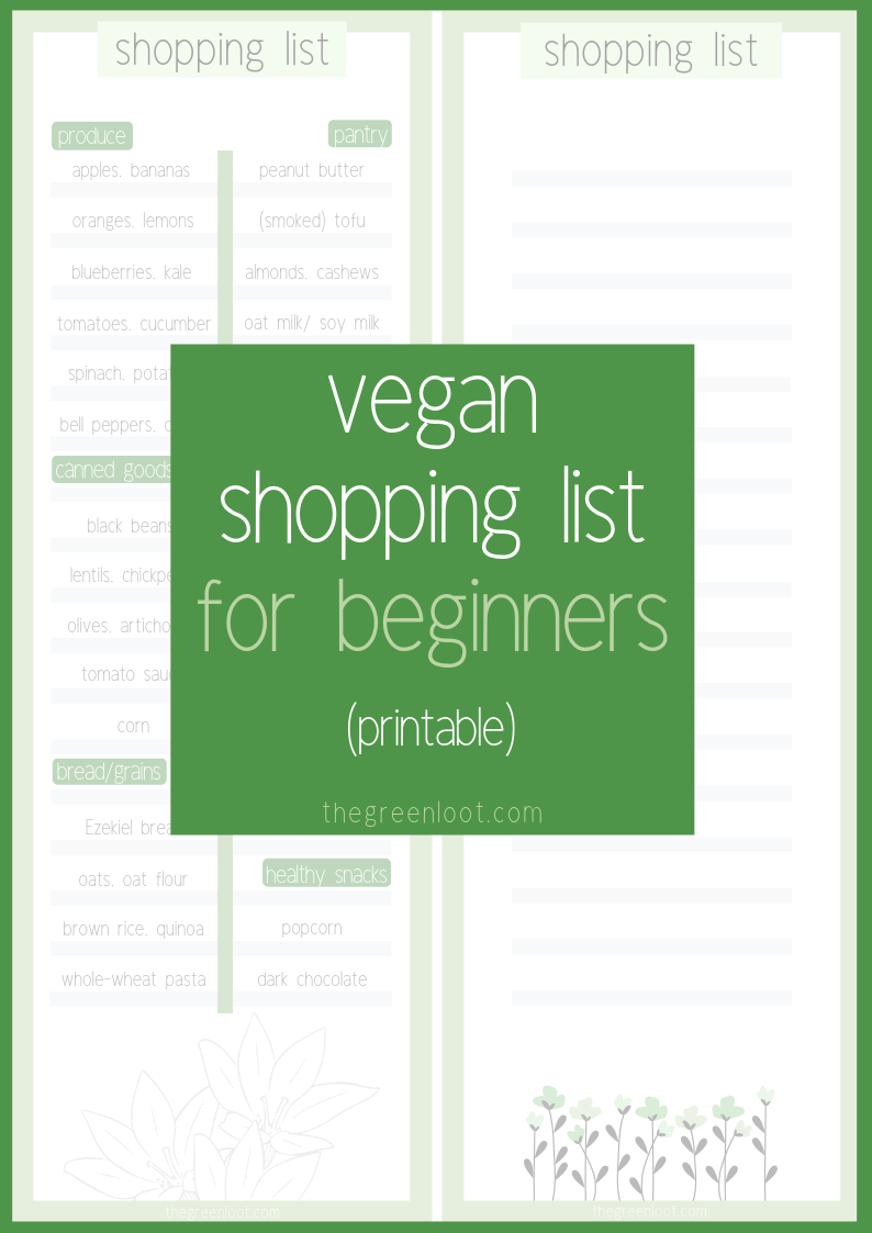 This printable Vegan Shopping List is perfect for Beginners. It contains the most important common elements a vegan pantry should have.   The Green Loot #vegan