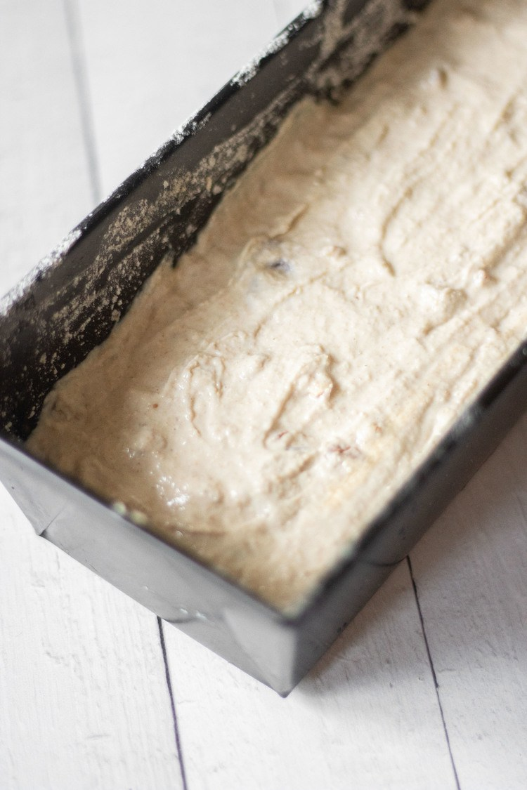 bread dough in a loaf pan
