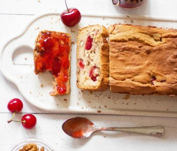 This Vegan Protein Bread with Cherries and Walnuts is the perfect gluten-free and healthy Summer breakfast. | The Green Loot #vegan #veganrecipes #Summer #glutenfree