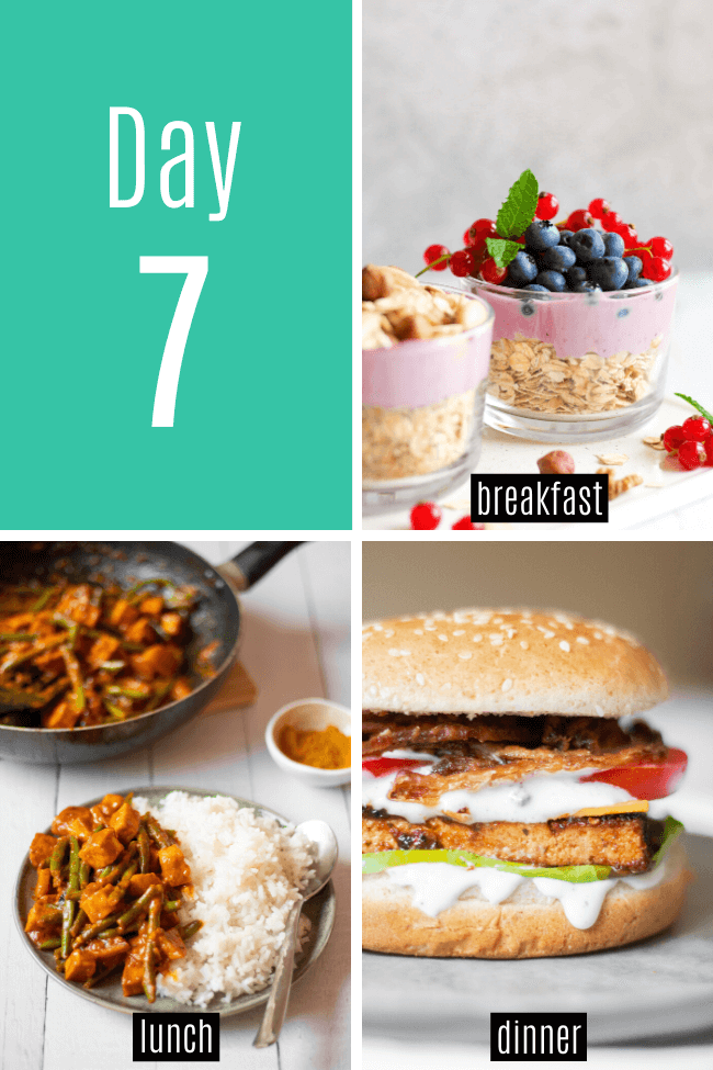 This super easy 7-day vegan meal plan is perfect for beginners and picky eaters! Make your life easier with these breakfast, lunch and dinner recipes for a week! | The Green Loot #vegan #veganrecipes