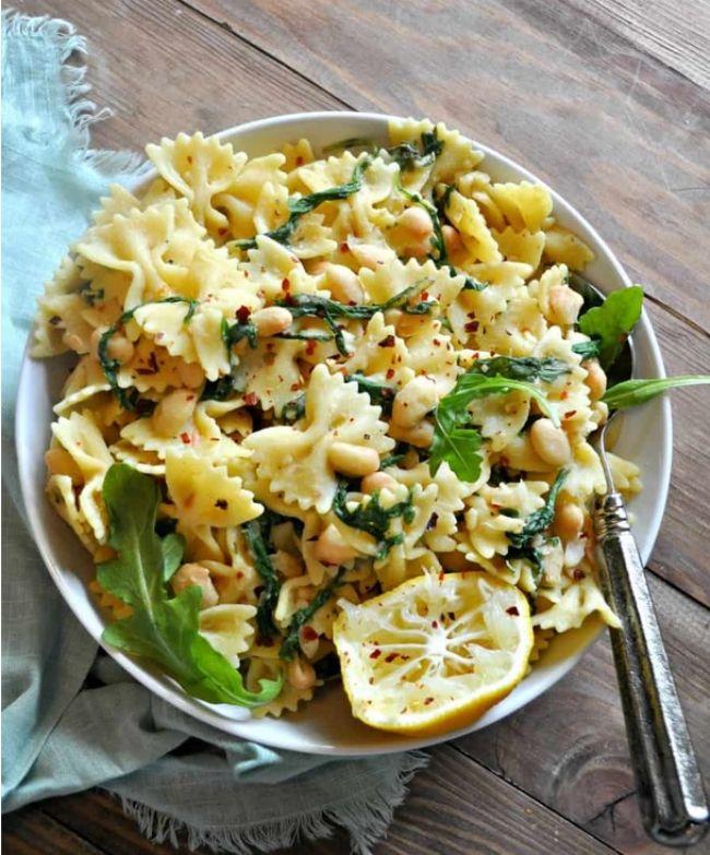 White Bean Arugula Pasta