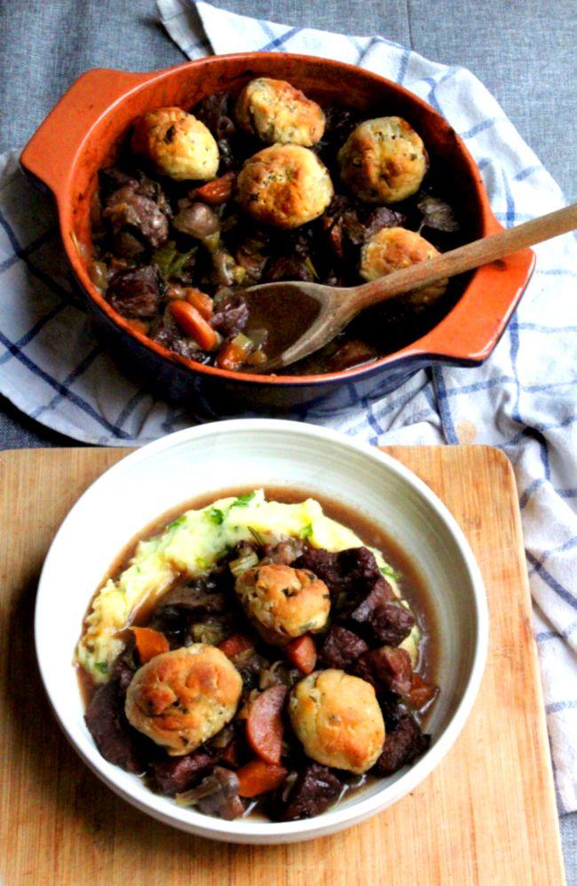 """""""Beef"""" Casserole with Dumplings"""