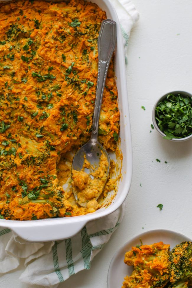 """Cheezy"" Chickpea, Broccoli, and Cauliflower Casserole"
