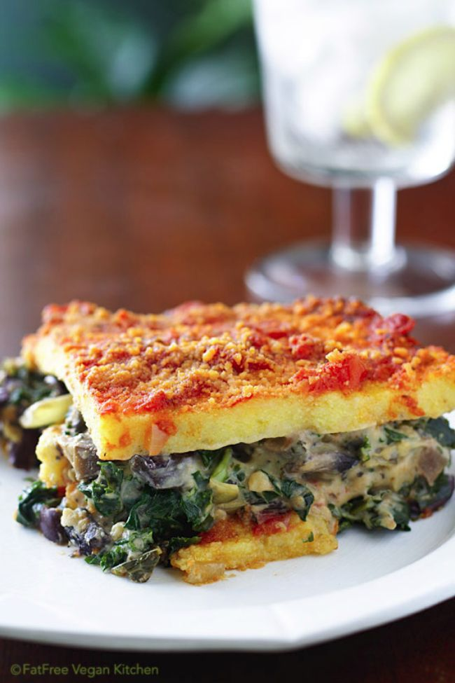 Polenta Lasagne with Mushroom and Kale