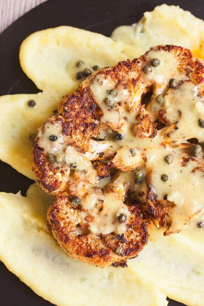 Cauliflower Steak Green Peppercorn Sauce