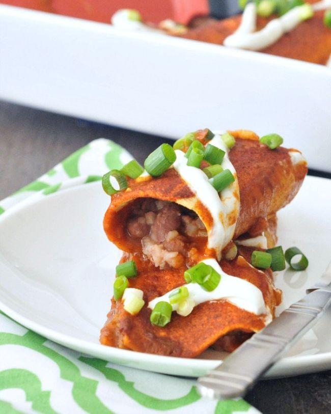 Bean and Cauliflower Rice Enchiladas