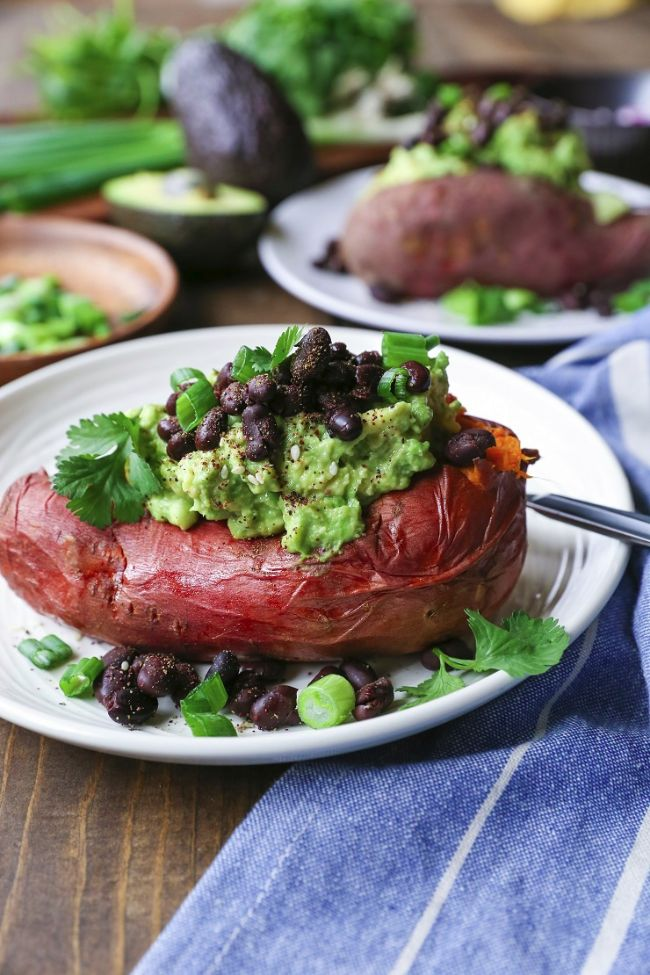Guacamole and Black Bean Loaded Sweet Potatoes