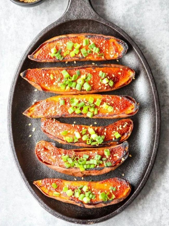 Miso Baked Sweet Potatoes
