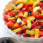 Summer fruit salad with rosewater dressing
