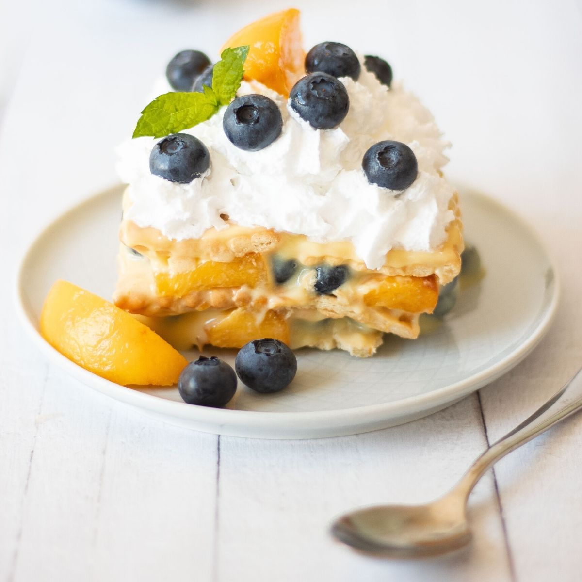 Vegan Vanilla Icebox Cake Recipe with Pudding, Blueberries and Peaches