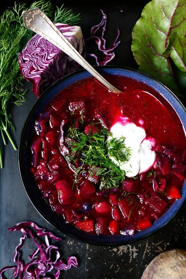 Beet Root Red Cabbage Soup (Borscht)