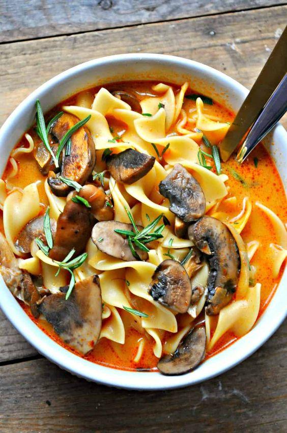 Wild Mushroom Stroganoff Soup